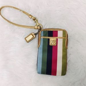 Striped Coach Wristlet